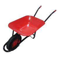 construction wheelbarrow,red - black trailed body 60l, solid wheel