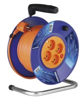 cable extension,orange, on the unwinding drum, 4 sockets, 25 m ~ 230 V / 16 A