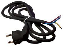 flexo cord, PVC, black, angular plug, indivisible, 5 m, cable 3 x 1.5 mm