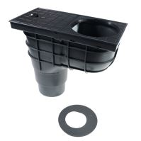 sewer drain, plastic, flow 390 l / 530 l / min., with a bottom outlet O 110/125 mm