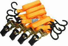 belt,clamping,hooks,ratchet,set 4 pcs, to 700kg, 25 mm x 4,6 m
