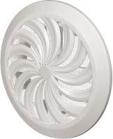 ventilation grille, plastic, white, round, fan-shaped ribbing, mesh,O 135 / 100 mm