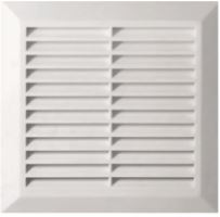 ventilation grille, plastic, white, square, mesh,200 x 200 / 160 x 160 mm, outlet O 150 mm