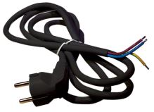 flexo cord, PVC, black, angular plug, indivisible, 3 m, cable 3 x 1.5 mm