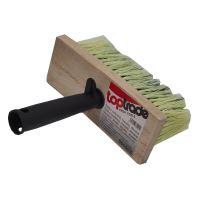 mason's brush,wooden, square, plastic handle