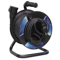 extension cord, rubber, black, on the unwinding drum, 1 socket and clutch, 25 m, 230 V ~