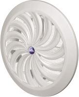ventilation grille, plastic, white, round, fan-shaped ribbing,mesh,O 135 / 100 mm