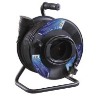 extension cord, rubber, black, on the unwinding drum, 1 socket and clutch, 50 m, 230 V ~