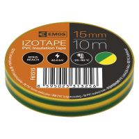 electrical insulating tape, yellow-green, 15 mm x 10 m