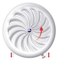 ventilation grille, plastic, white, round, fan-shaped ribbing,mesh,O 180 / 150 mm