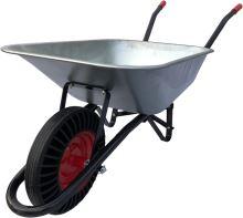 construction wheelbarrow, trailed body galvanized 60l, solid wheel