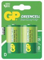 batteries GP  Greencell, Zinc – Chloride, R20, mono D, blister 2 pcs, 1,5 V
