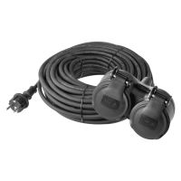extension cable, rubber, 2 sockets, 10 m, 250 V ~ / 16 A, IP 44