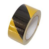 warning tape, adhesive, PVC, black - yellow ,50 mm x 33 m