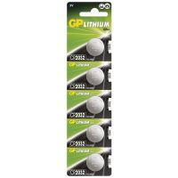 batteries GP lithium, GP CR2032 button celll, blister 5 pcs, capacity 220 mAh, 3 V