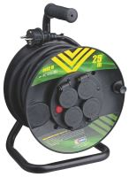 extension cord,rubber,black,on the unwinding drum,4 sockets,thermal fuse,25 m, ~ 230 V/16A
