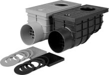 sewer drain, plastic, flow 375 l / min., with a lateral outlet 110 mm